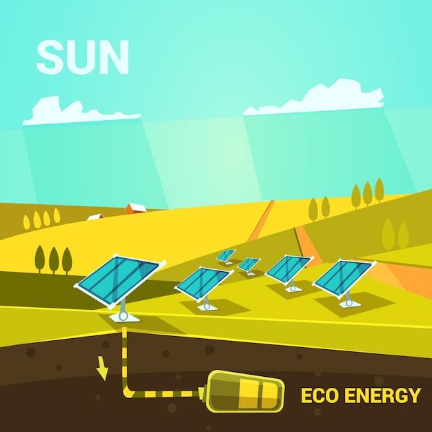 フィールドのレトロスタイルに太陽光パネルを持つecologycalエネルギー漫画ポスター 無料ベクター
