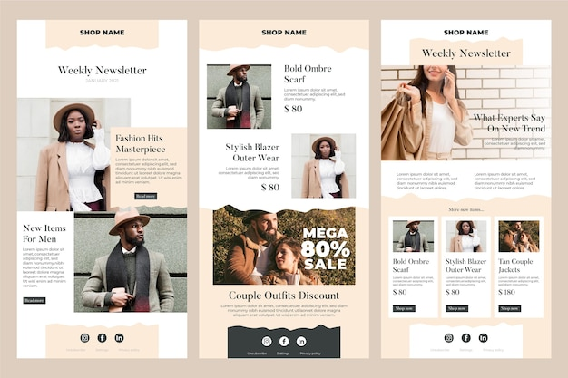 Ecommerce email template collection Free Vector