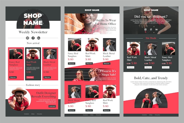 Ecommerce email template set Free Vector