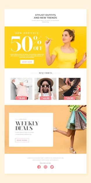 Modello di email e-commerce Vettore gratuito
