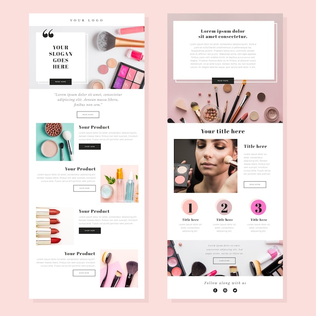 Ecommerce email templates set Free Vector
