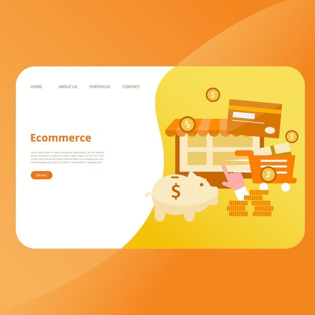Eコマースランディングページベクトルテンプレート Premiumベクター