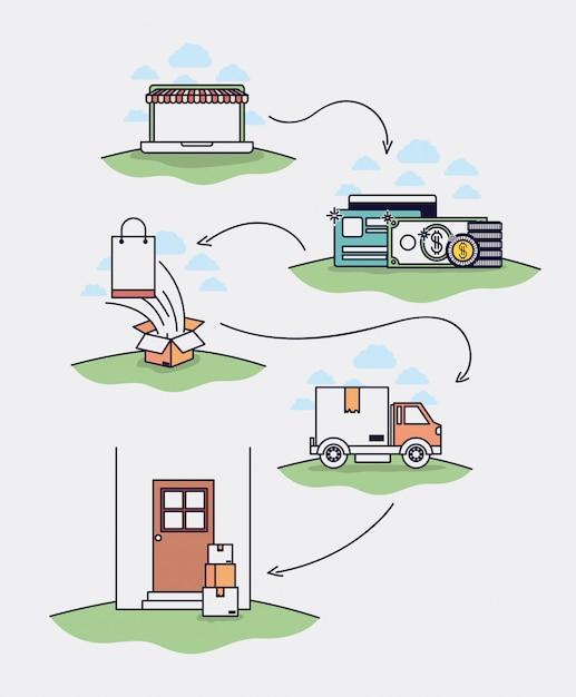 Ecommerce set icons drawn vector illustration design Premium Vector