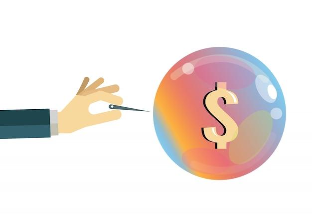Economic bubble. financial crisis concept. flat design elements. vector illustration Premium Vector