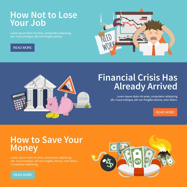 Economic crisis banners Free Vector