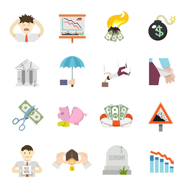 Economic crisis flat icons Free Vector