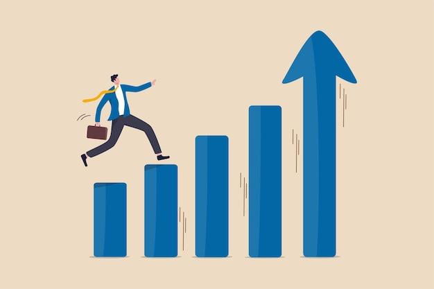 経済的繁栄、事業利益の成長またはキャリアパスと収入増加の概念 Premiumベクター