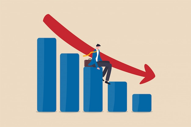 Economic recession, financial crisis or stock market crash. business owner sitting on falling down bar graph, red arrow. Premium Vector