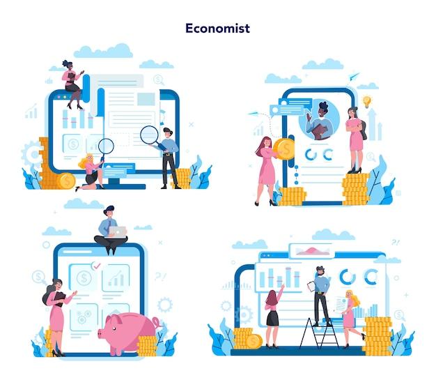 さまざまなデバイス、コンピューター、ラップトップ、タブレット、スマートフォンでの経済学と金融のオンラインサービス。投資相談と監査。事業資本貸付。セットする Premiumベクター