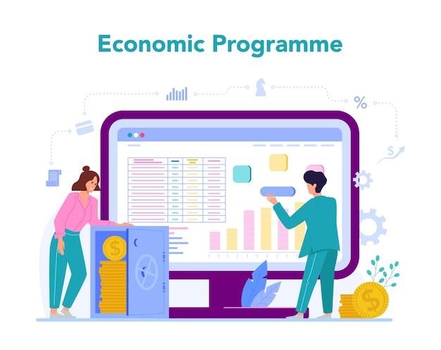 経済学と金融のオンラインサービスまたはプラットフォーム。 Premiumベクター