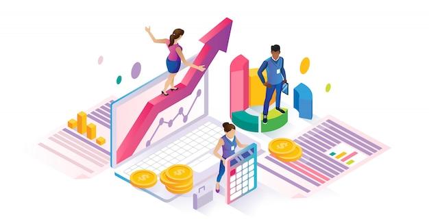 Economics isometric cyberspace financial business concept Premium Vector
