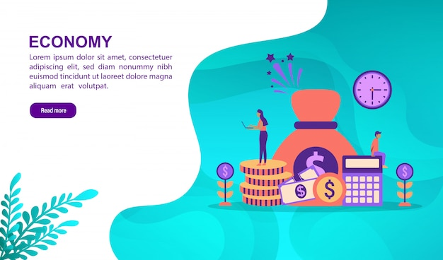 Economy illustration concept with character. landing page template Premium Vector