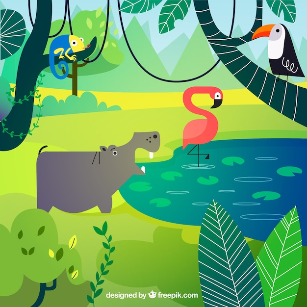 Ecosystem concept with animals Free Vector