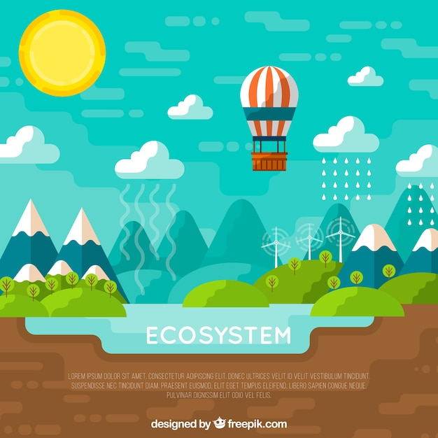 Ecosystem concept with balloon Free Vector