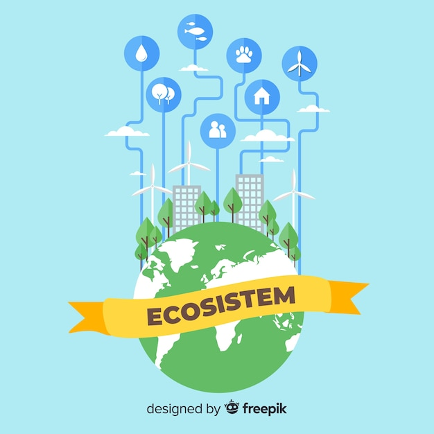 Ecosystem concept with city on globe Free Vector