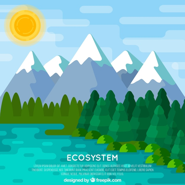 Ecosystem concept with mountain background Free Vector