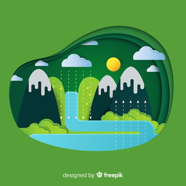 Ecosystem concept with mountains and river Free Vector