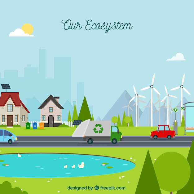 Ecosystem concept with waste truck Free Vector