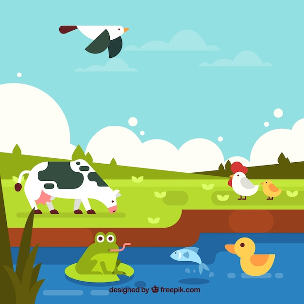 Ecosystem conservation composition with lovely animals Free Vector