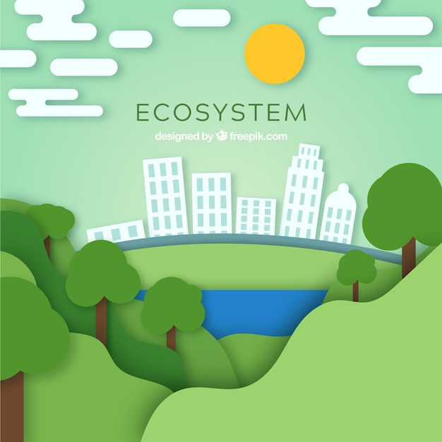 Ecosystem conservation composition with origami style Free Vector