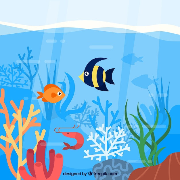 Ecosystem conservation composition with sea animals Free Vector