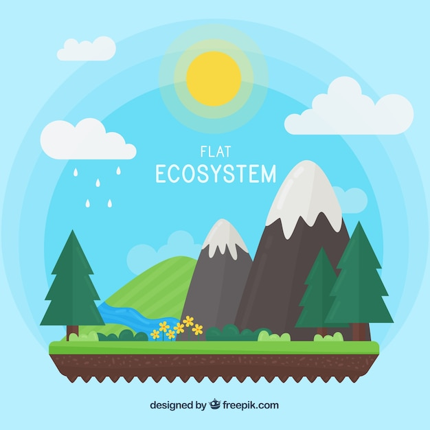 Ecosystem and nature concept in flat style Free Vector