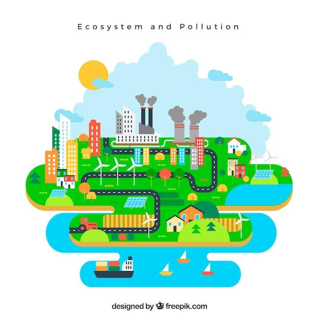 Ecosistema e concetto di inquinamento in stile piatto Vettore gratuito