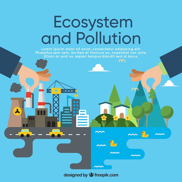 Ecosystem and pollution concept in flat style Free Vector