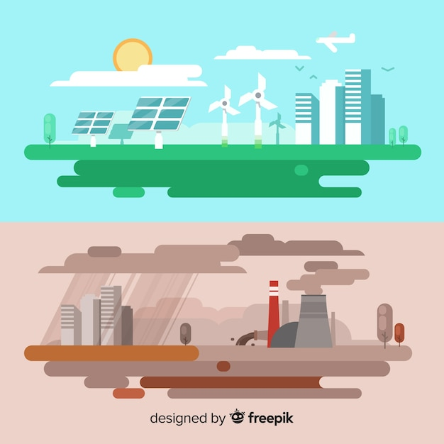Ecosystem and pollution concept Free Vector