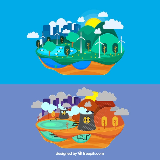 Ecosystem and pollution design in flat style Free Vector
