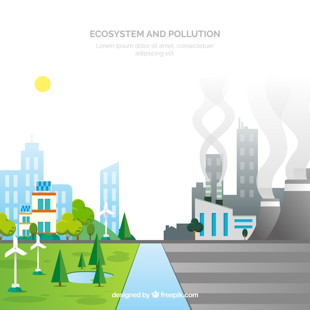 Ecosystem and pollution design Free Vector