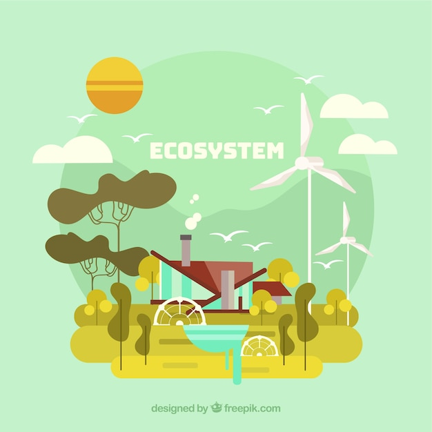Ecosystem and renewable energy concept Free Vector