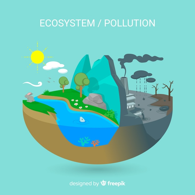 Ecosystem vs pollution background Free Vector