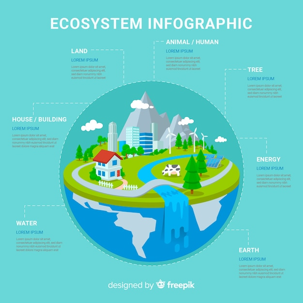 Ecosystem vs pollution infographic background Free Vector