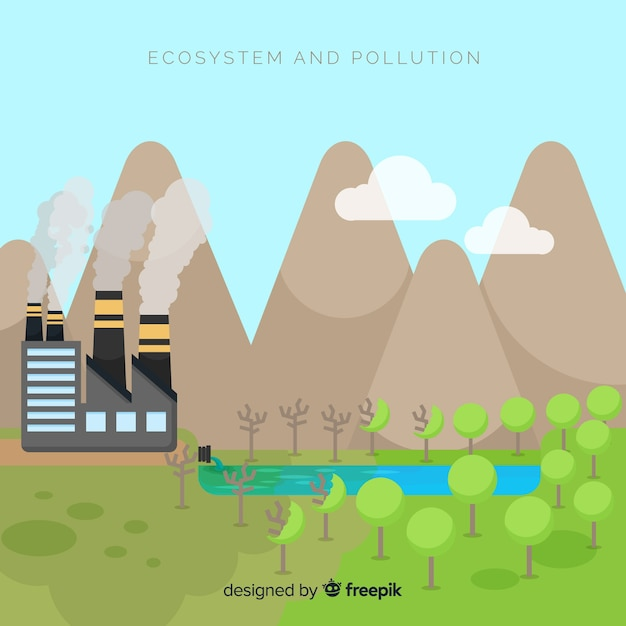 Ecosystem vs polution background Free Vector