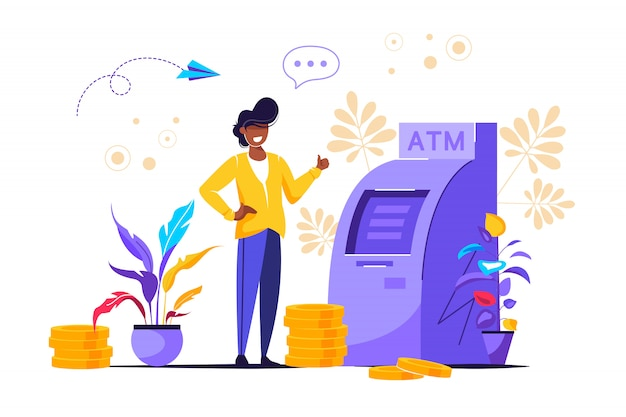 Ector illustration, perform financial transactions using atm Premium Vector