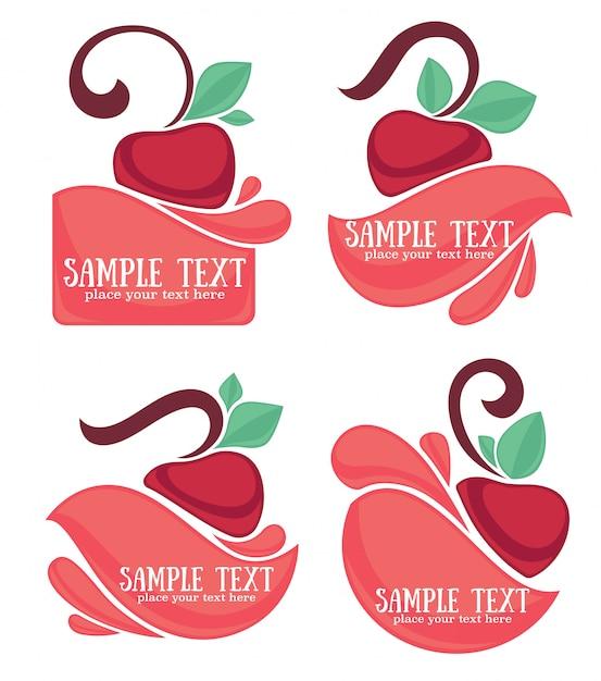 Ector коллекция соковых наклеек и вишневых символов для вашего текста Premium векторы