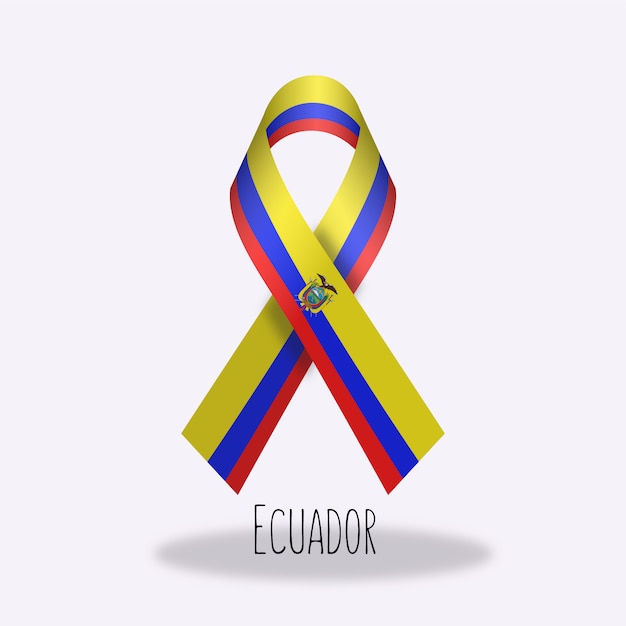 Ecuador flag ribbon design Free Vector