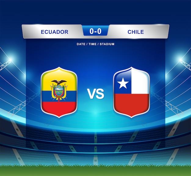Ecuador vs chile scoreboard broadcast football copa america Premium Vector
