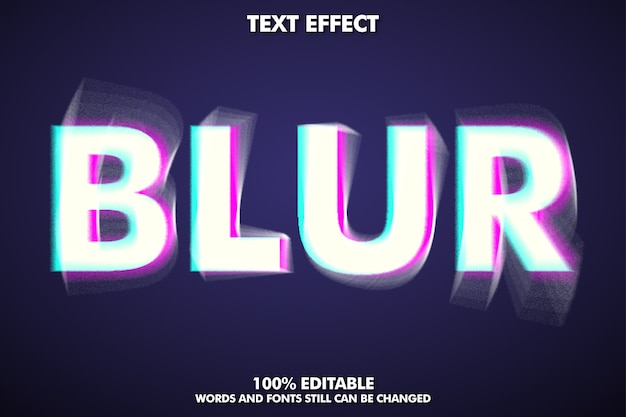 Editable blur text effect Free Vector