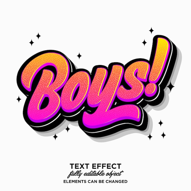 Editable boys sticker text effect Premium Vector