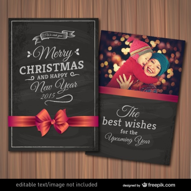 editable christmas card with photography frame free vector