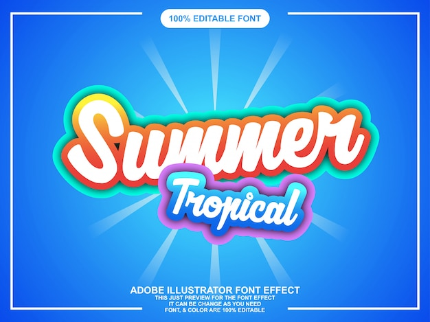Editable colorfull summer sticker with bright color Premium Vector