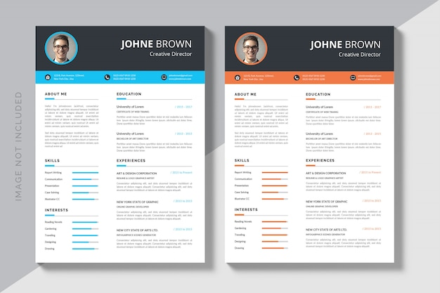 Editable cv format download Premium Vector