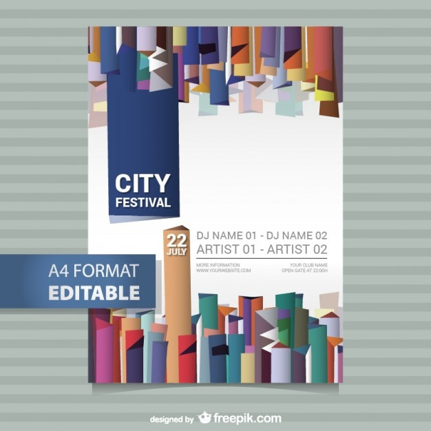 editable festival poster template vector | free download, Poster Presentation Template Iit, Presentation templates