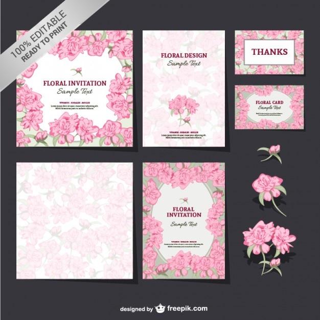 Editable floral mock-up set  Free Vector