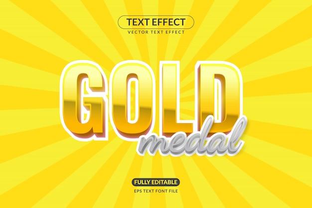 Editable gold medal text effect Premium Vector
