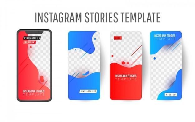 Editable instagram story template with liquid splashes Premium Vector