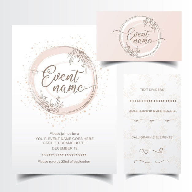 Editable invitation and business card design with hand drawn text dividers Premium Vector