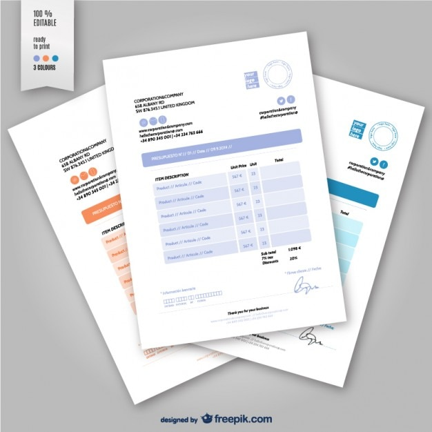 editable invoice template vector free download